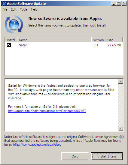 Applesoft Now Pushing Safari through Quicktime